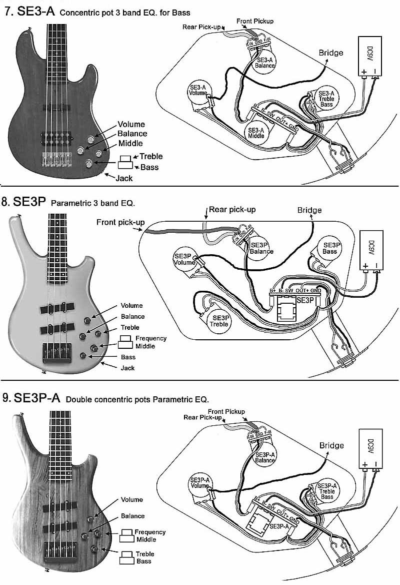 SE3-A with 2 pickups Bass 8. SE3P with 2 pickups Bass 9. SE3P-A with 2 pickups Bass